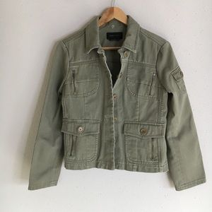 BCBG MaxAzria Green Denim Military Utility Jacket